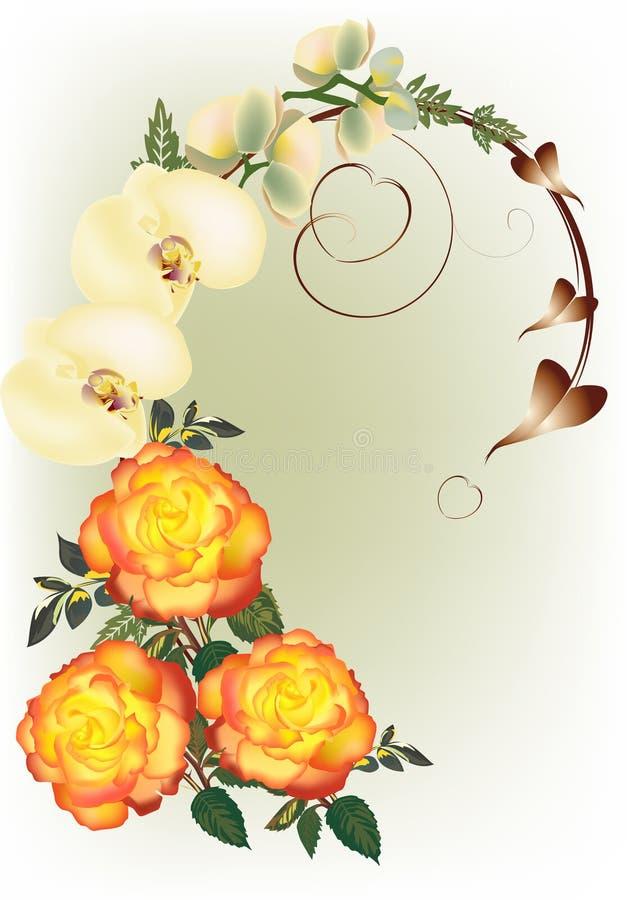 Скручиваемость цветков розы и орхидеи желтого цвета иллюстрация штока