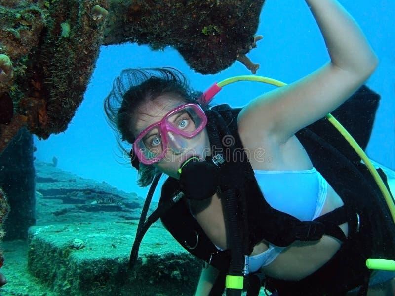 скуба водолаза подводное стоковое изображение