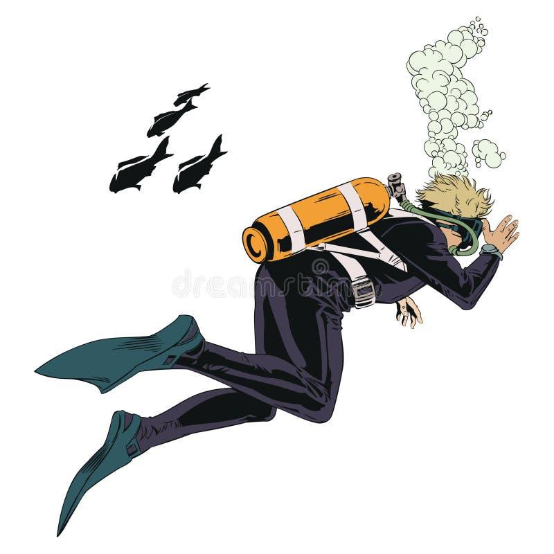 скуба водолазов подводное бесплатная иллюстрация