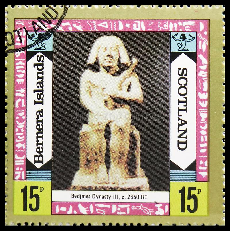Скульптура династии Bedjmes, острова Bernera, serie Staffa Шотландии, около 1980 стоковые изображения