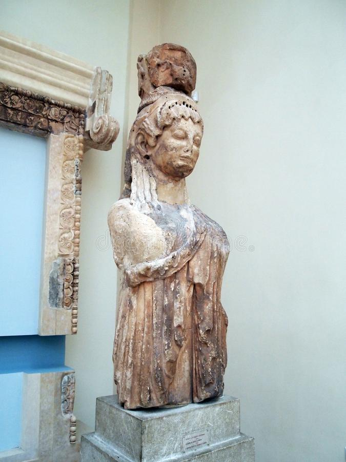 Скульптура древнегреческия мраморная, музей Дэлфи археологический, Греция стоковые фотографии rf