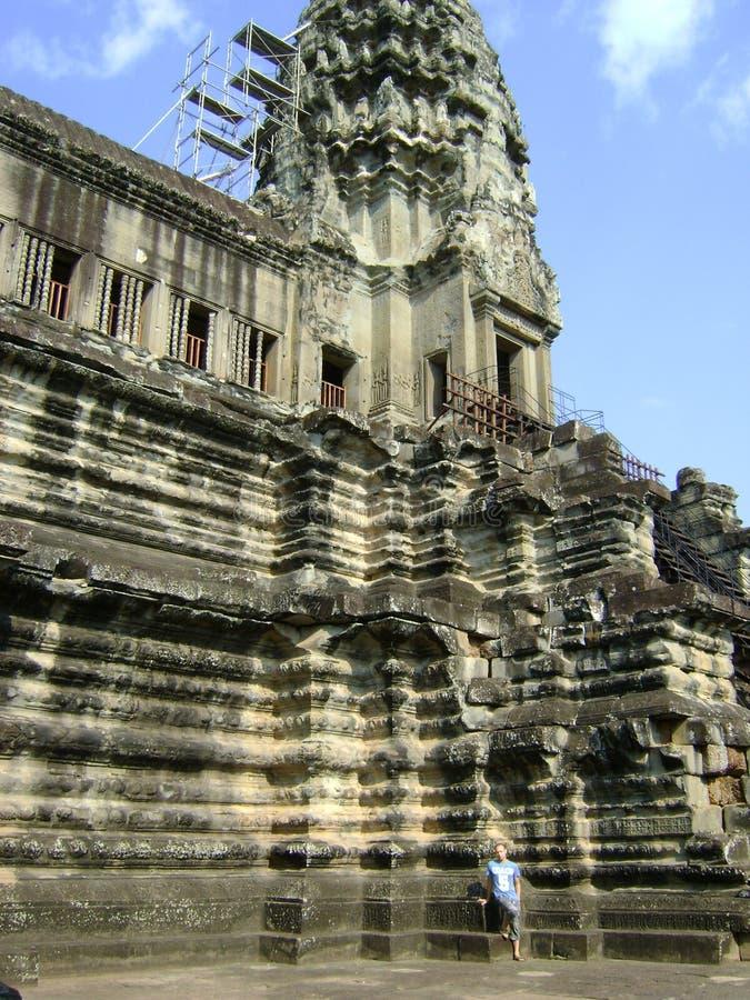 Скульптура Камбоджи высекаенная Angkor Wat каменная стоковые фото