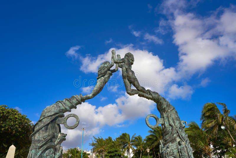 Скульптура Майя Playa del Carmen портальная стоковые фотографии rf