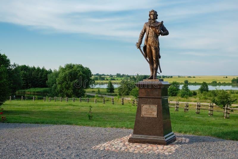 Скульптура национального героя Tadeusz Kosciuszko в Merechevshchina, около города Kossovo, область Бреста, Беларусь стоковая фотография rf