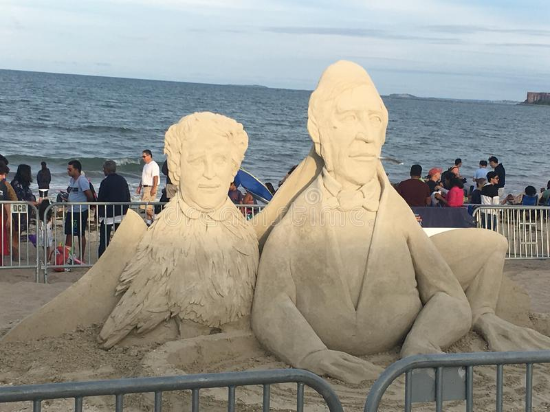 Скульптура песка пляжа Бостона стоковое фото rf