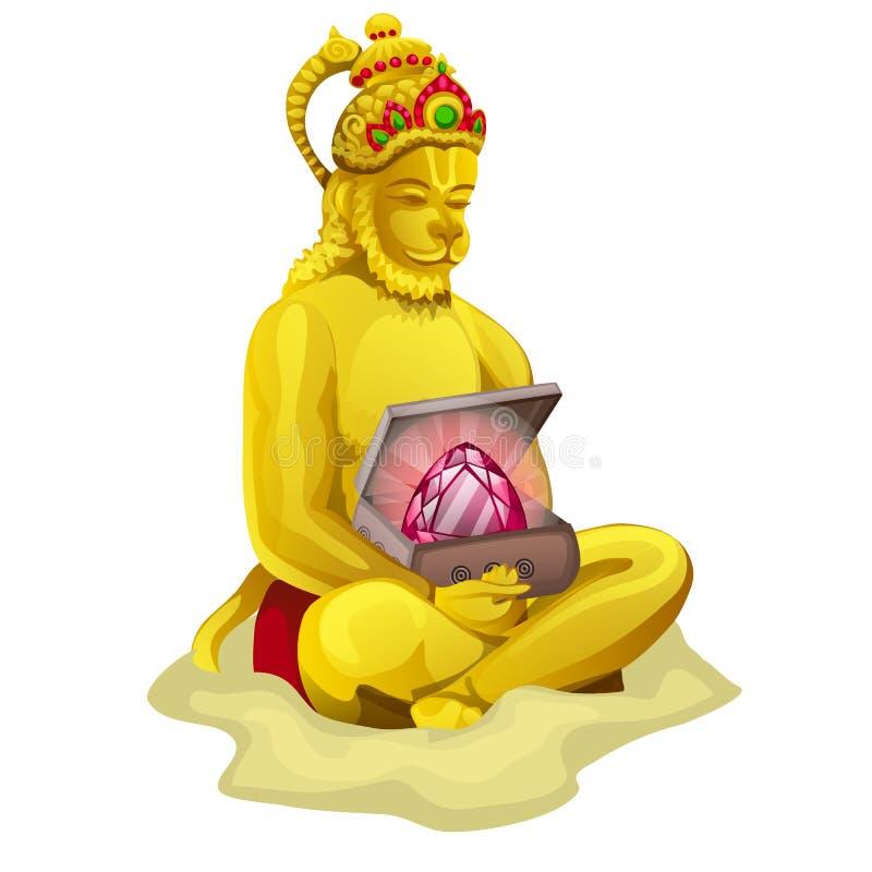 Скульптура Nrsimha или Narasimha изолированная на белой предпосылке Иллюстрация конца-вверх шаржа вектора бесплатная иллюстрация