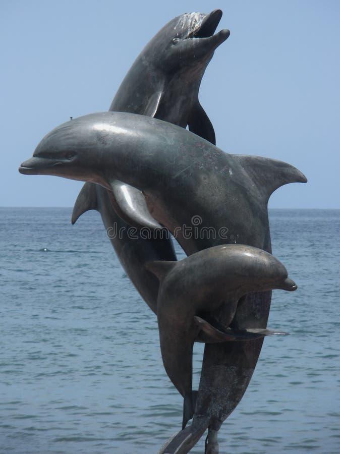 Скульптура Puerto Vallarta Мексика дельфина стоковая фотография rf
