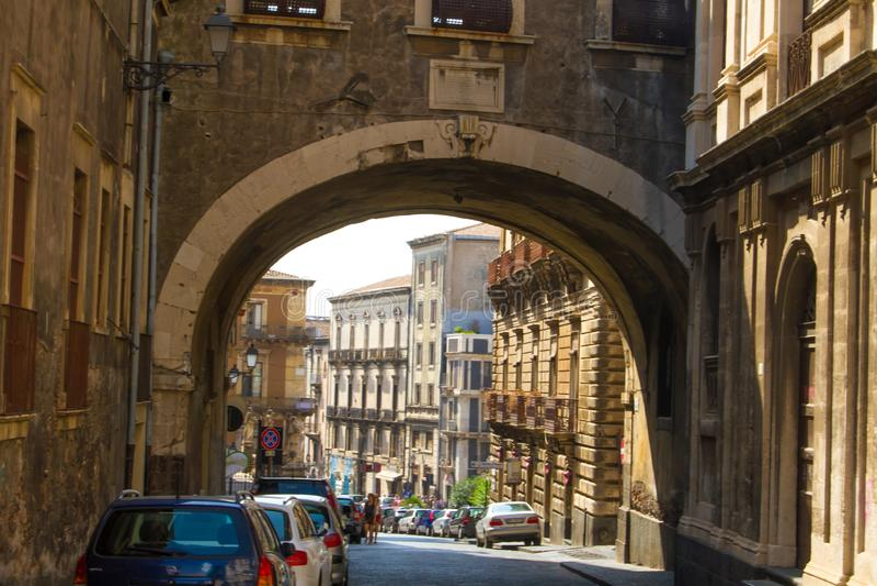 Скульптуры и архитектура Катании Сицилии стоковые фото