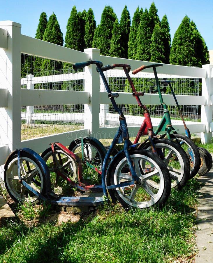 Скутеры детей Амишей стоковые фото