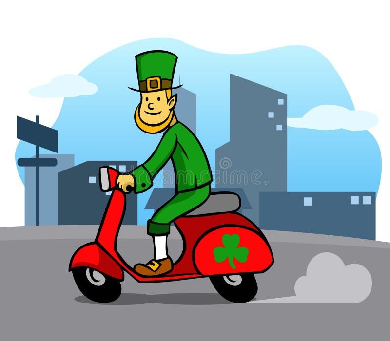 Скутер катания лепрекона по всему городу бесплатная иллюстрация