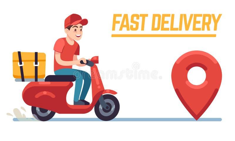 Скутер с работником доставляющим покупки на дом Быстрый курьер с пиццей, водитель мотоцикла на дороге к клиенту Квартира сервиса  иллюстрация вектора