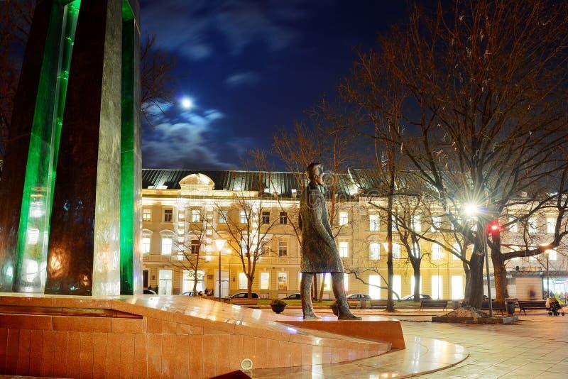 Скульптура города Вильнюса к барвинкам Kudirka Автор республики Lithuanian гимна стоковые изображения rf