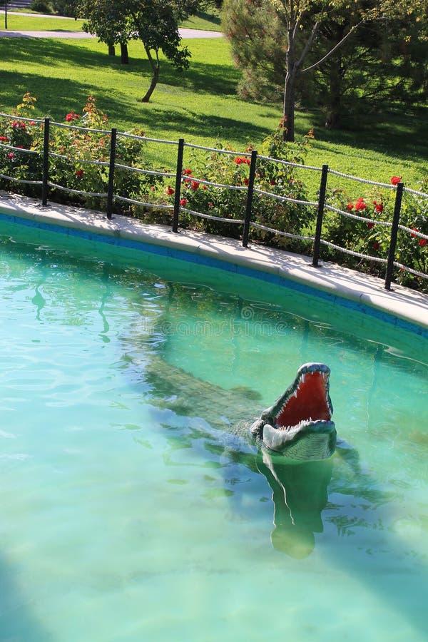 Скульптура крокодила на парке детей стоковые изображения
