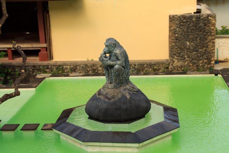 Скульптура обезьяны в бассейне стоковое изображение rf