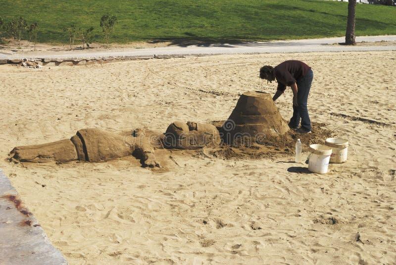 Скульптура песка на пляже Barceloneta. Испания стоковое фото rf