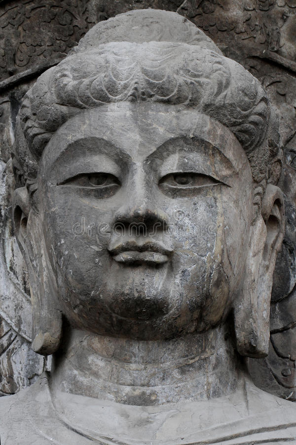 скульптура стороны ฺีBuddha гротов Longmen в Лояне, Китае стоковые изображения rf