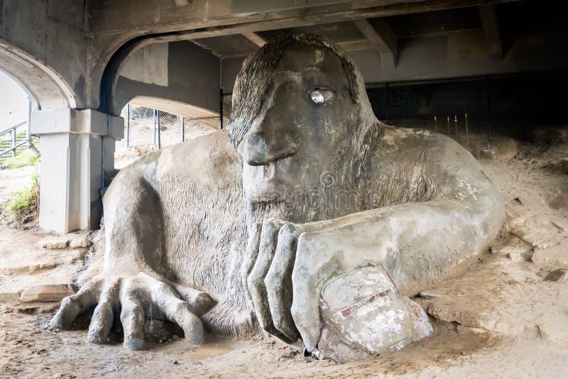 Скульптура тролля в районе Fremont стоковые фото