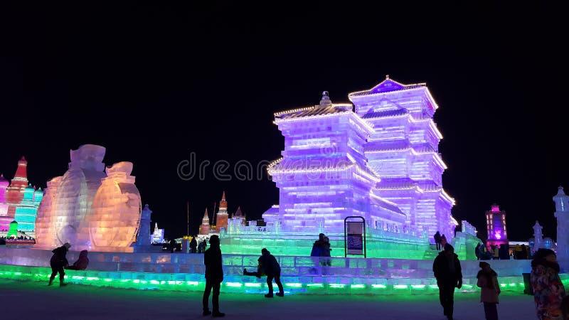 Скульптура фестиваля льда Харбин стоковое изображение rf