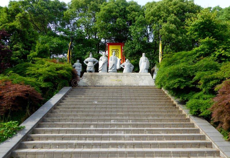 Скульптура характера королевства Shu стоковые фотографии rf