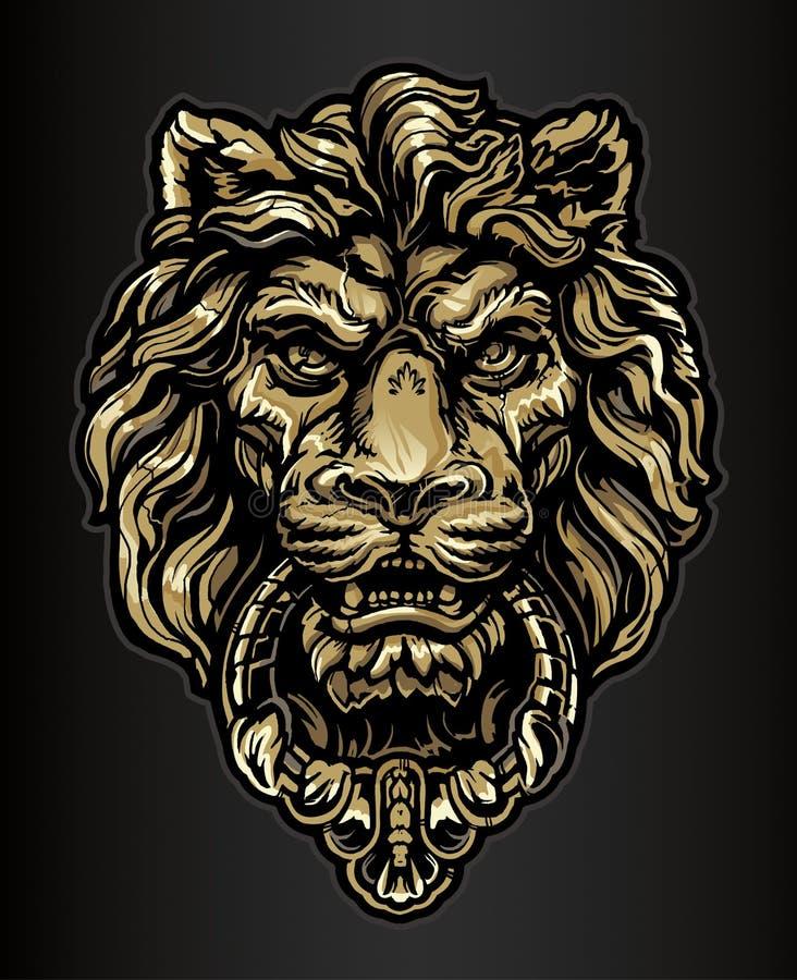 Knocker двери льва золота иллюстрация штока