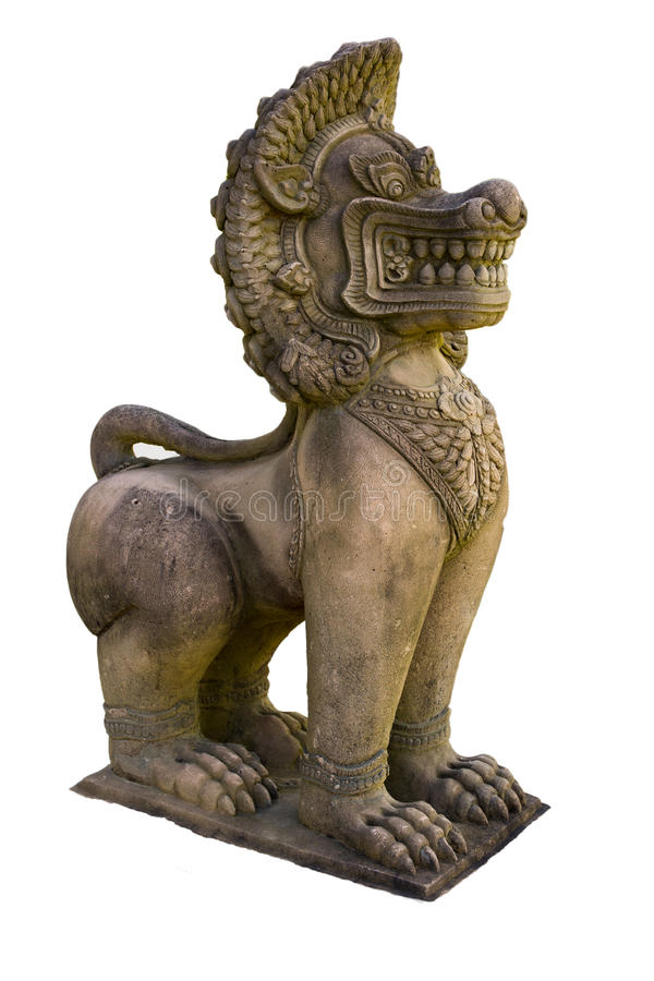 Скульптура Singha в виске на белой предпосылке стоковая фотография