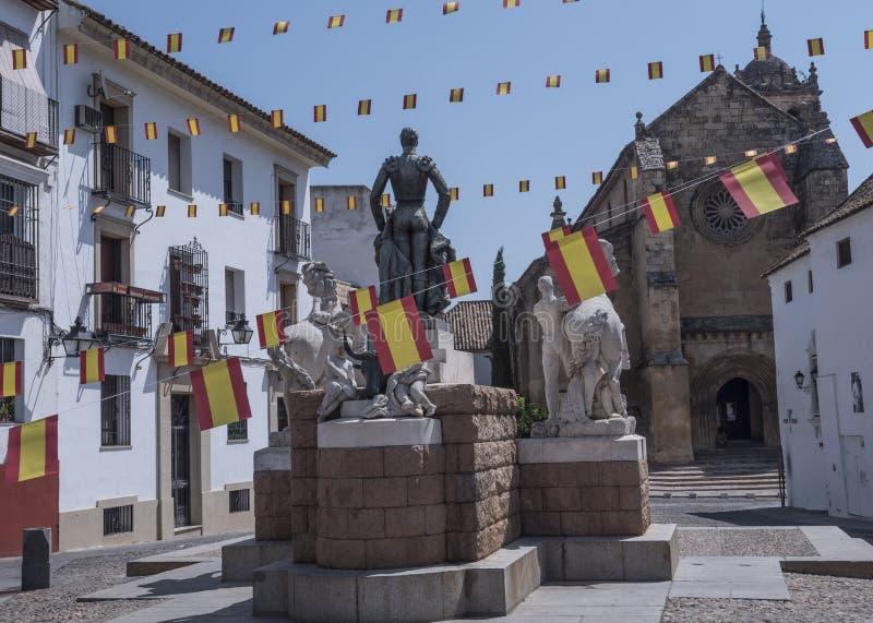 Скульптурный ансамбль предназначенный к bullfighter вызванному Manolete, ` Манюэля Родригеса `, Cordoba, Испанией стоковые изображения rf