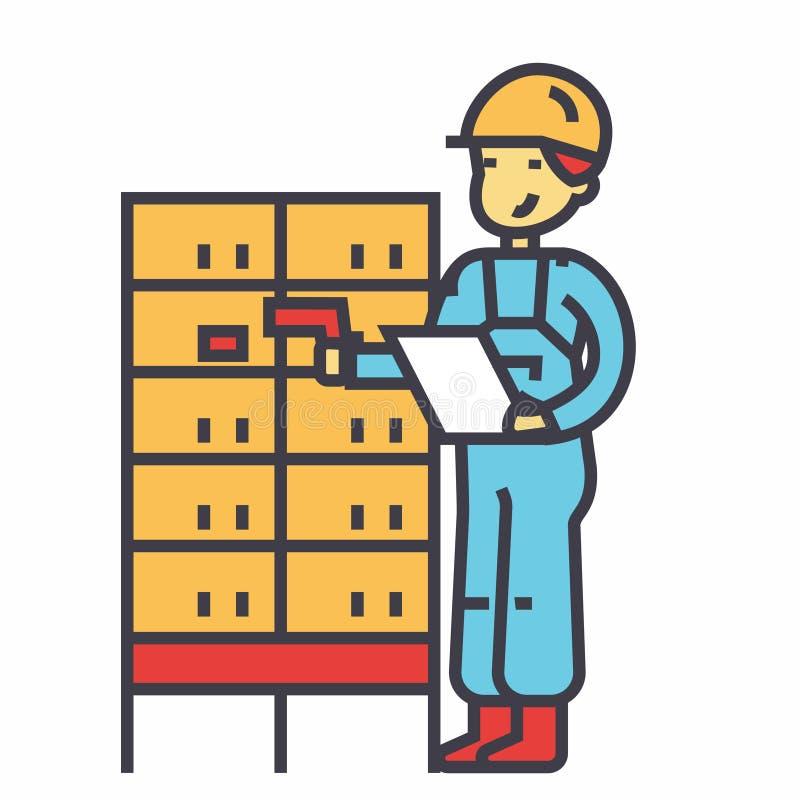 Склад, работник доставляющий покупки на дом, проверяя код штриховой маркировки на столбе кладет концепцию в коробку бесплатная иллюстрация