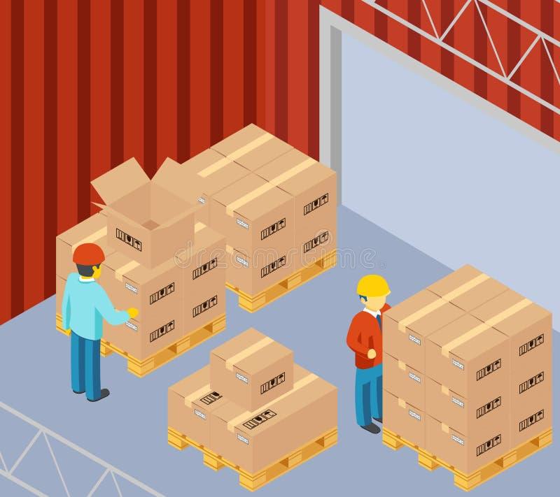 Склад с картонными коробками на паллетах иллюстрация вектора