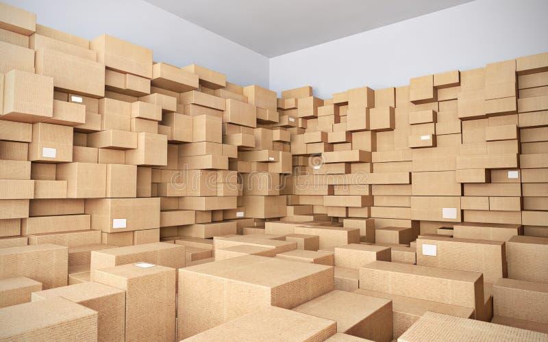 Склад с много картонных коробок иллюстрация вектора