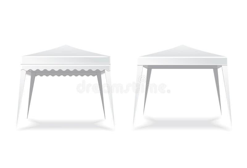 Складывая белые пустые шатер или сень Шатёр и место, зонтик также вектор иллюстрации притяжки corel бесплатная иллюстрация