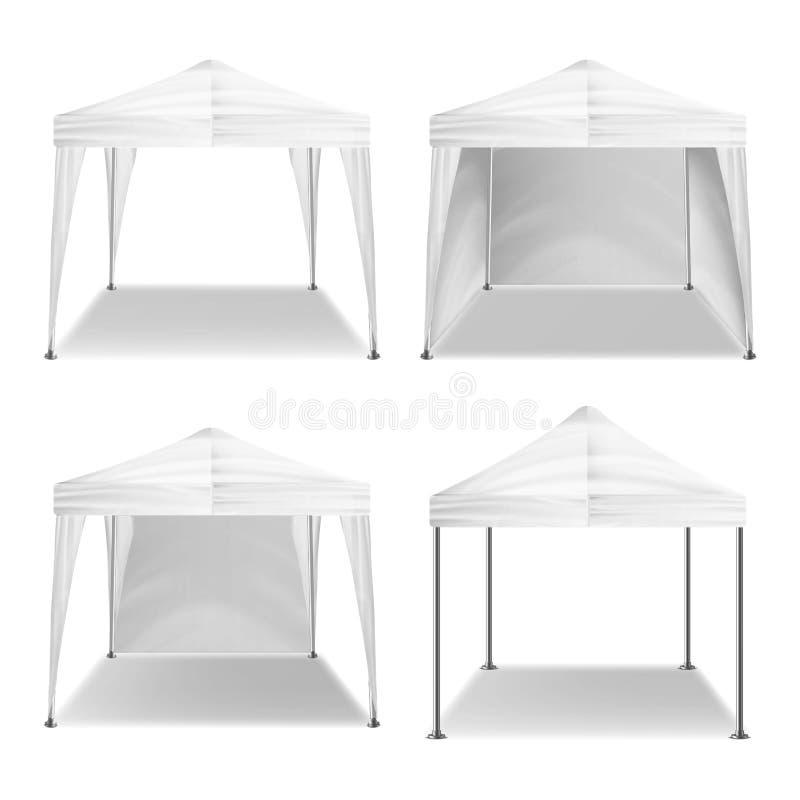 Складывая вектор внешнего павильона шатра установленный Реалистический пробел шаблона Выдвиженческая внешняя чернь шатра торговой иллюстрация штока