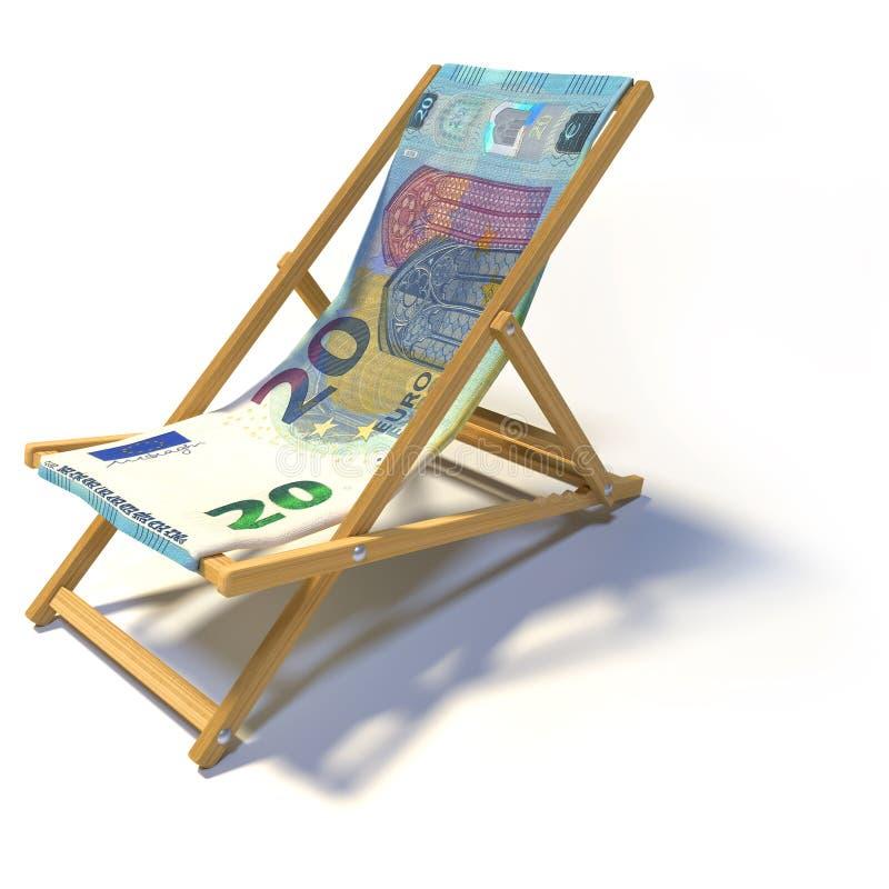 Складывая deckchair с евро 20 стоковое изображение