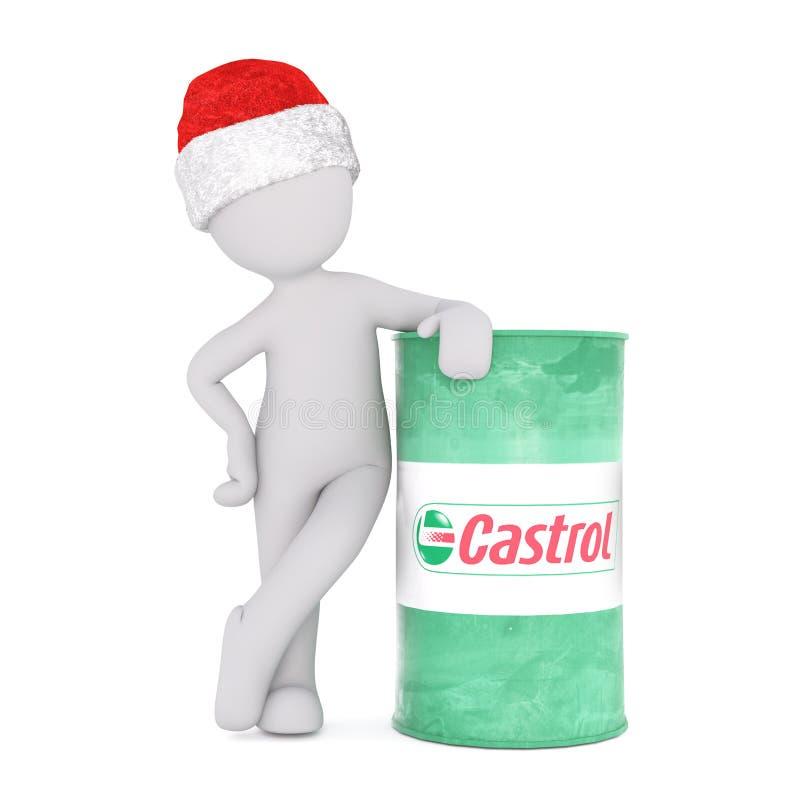 склонность человека 3d на бочонке масла Castrol иллюстрация штока