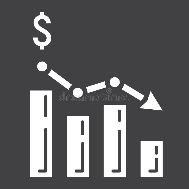 Склоняя значок, дело и финансы глифа диаграммы бесплатная иллюстрация