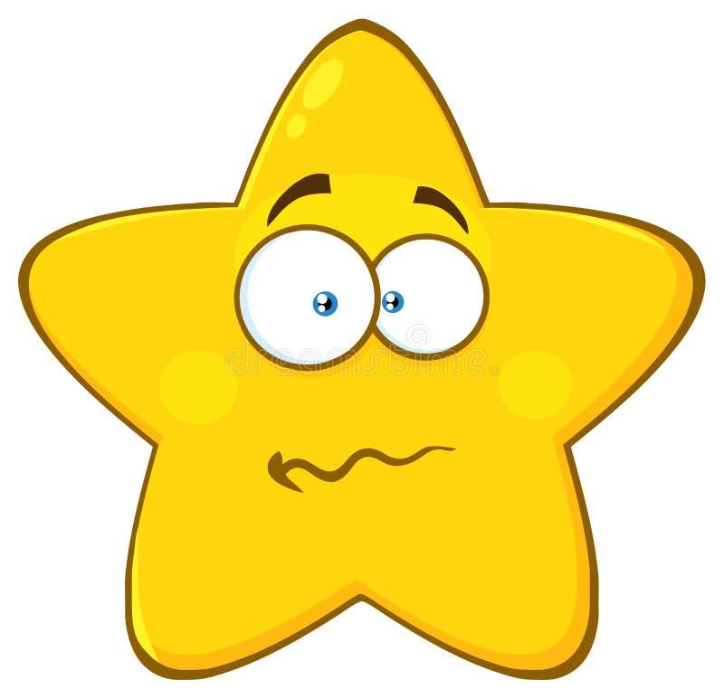 Слабонервный желтый шарж Emoji звезды смотрит на характер с confused выражением иллюстрация штока