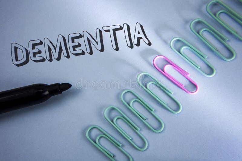 Слабоумие текста почерка Концепция знача знак потери долгосрочной памяти и симптомы сделали меня выбыть скорее написанный на прос стоковое фото