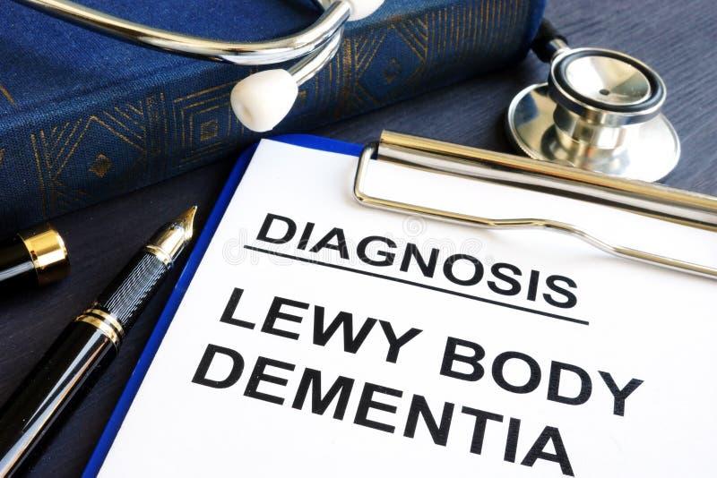 Слабоумие тела Lewy диагноза на столе стоковые фотографии rf