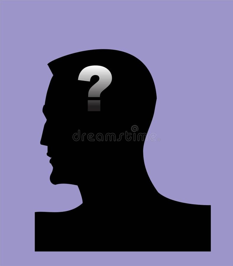 слабоумие alyssa Голова и вопросительный знак Symbo психических здоровий стоковое изображение