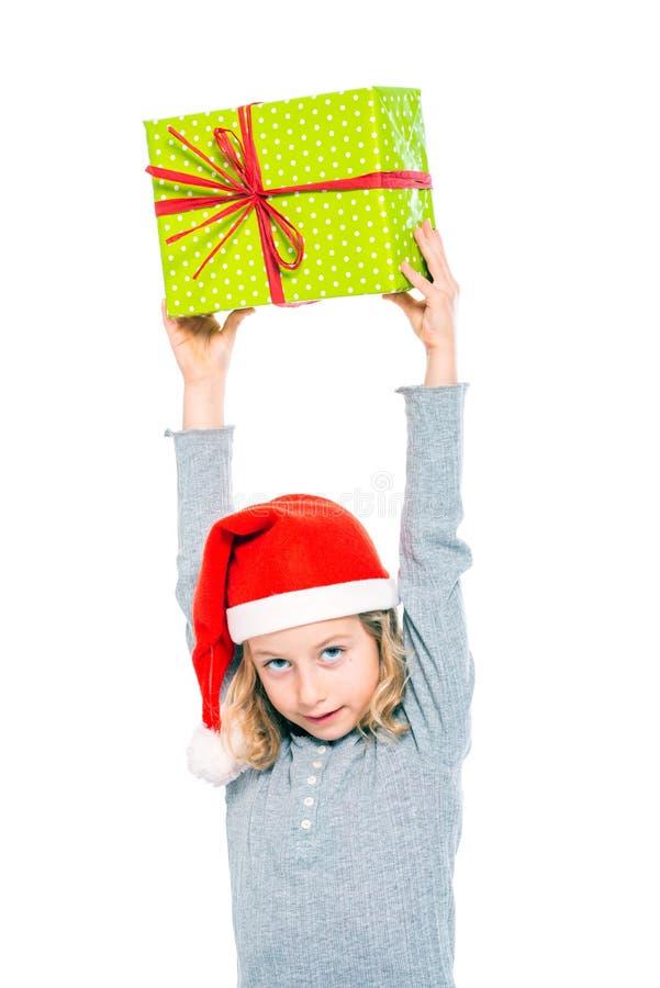 Славная девушка с подарком на рождество стоковое фото rf