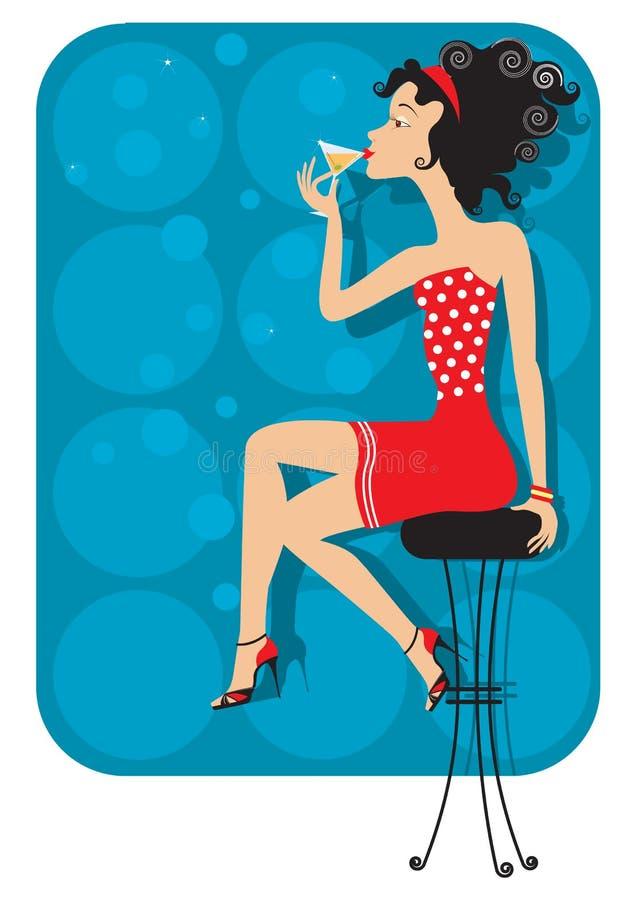 Славная женщина сидит в клубе иллюстрация вектора