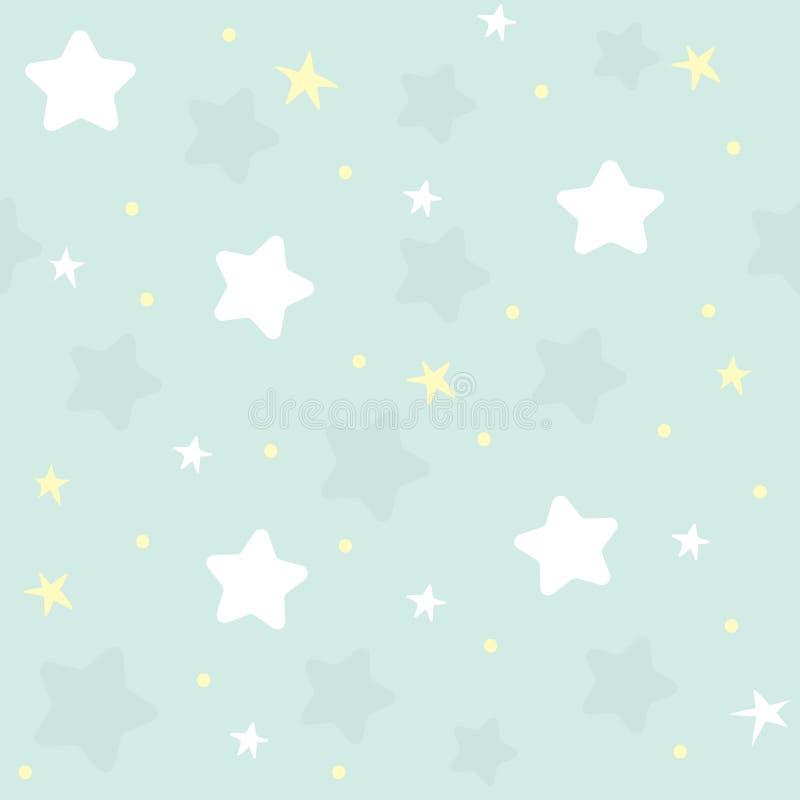 Славная картина seamles для детей Иллюстрация вектора со звездами и облаками иллюстрация вектора