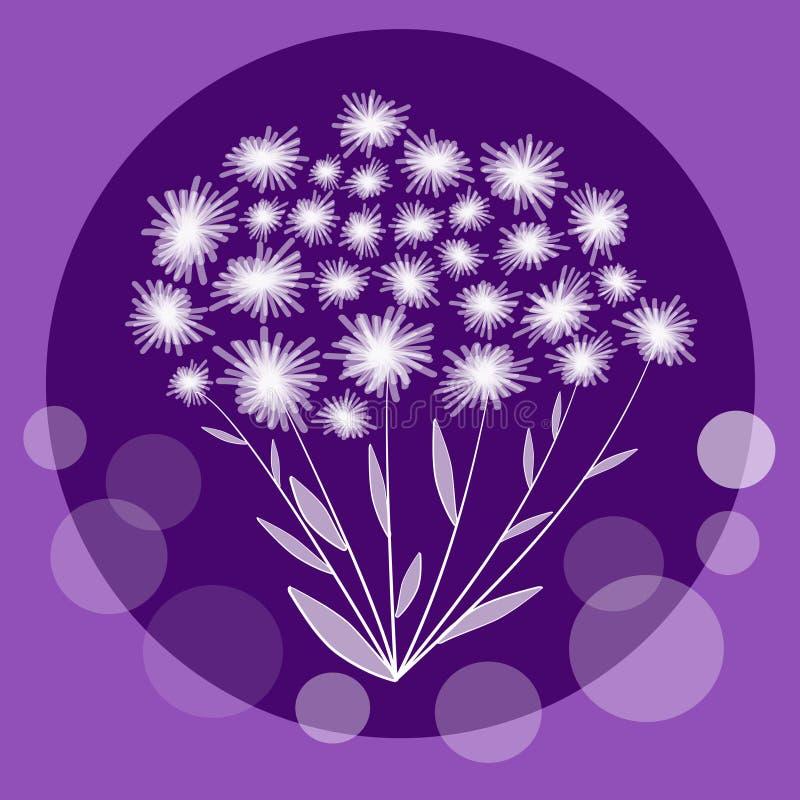 Славная пачка цветка в составе круга на ультрамодной фиолетовой предпосылке Милый пук белых небольших цветков иллюстрация вектора
