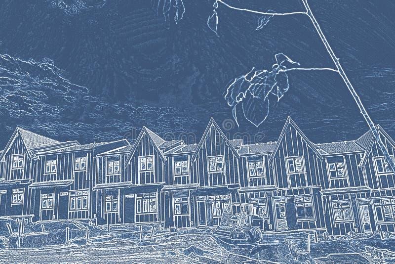 Славная резиденция с голубым и белым фильтром иллюстрация штока
