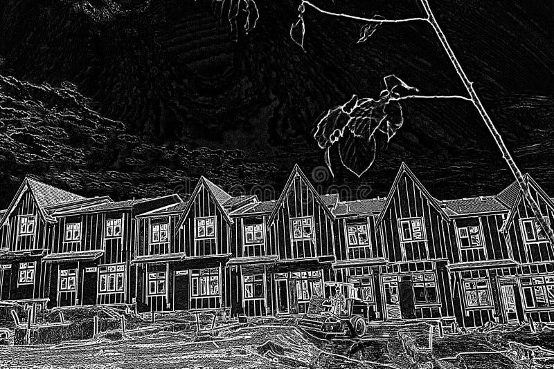 Славная резиденция с черно-белым фильтром иллюстрация штока