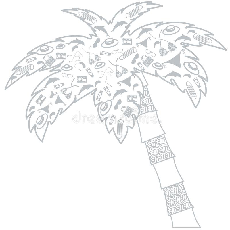 Славное изображение: наполненный ладон контур silhouettes аксессуары для a иллюстрация штока