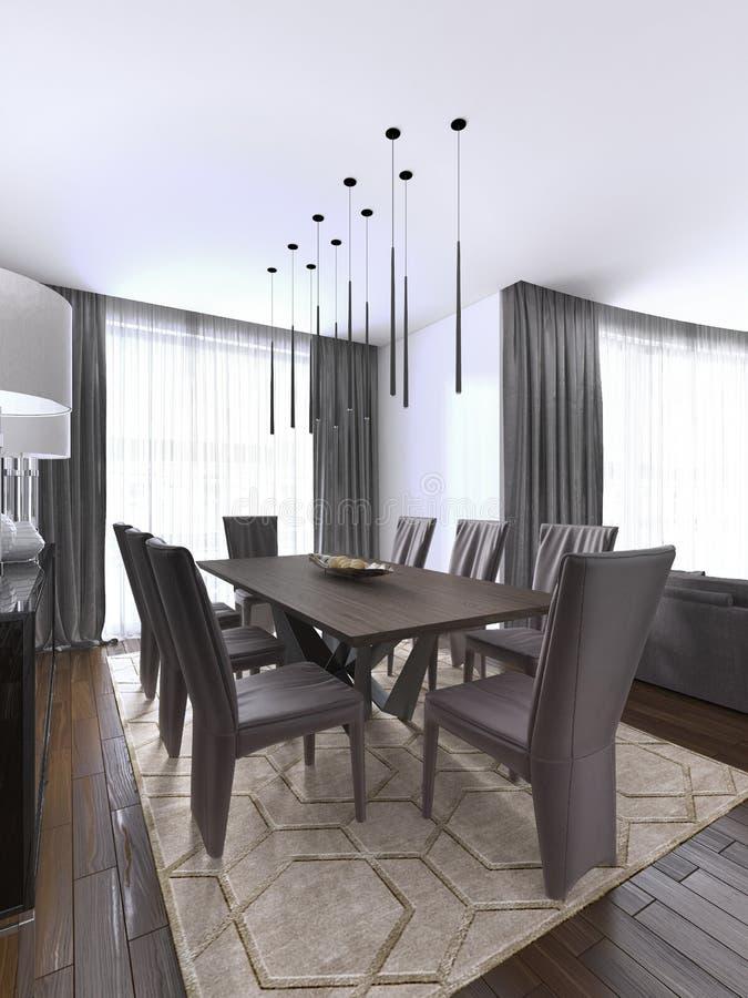 Славно украшенное роскошное прожитие, столовая Обеденный стол и некоторые стулья Дизайн интерьера иллюстрация штока