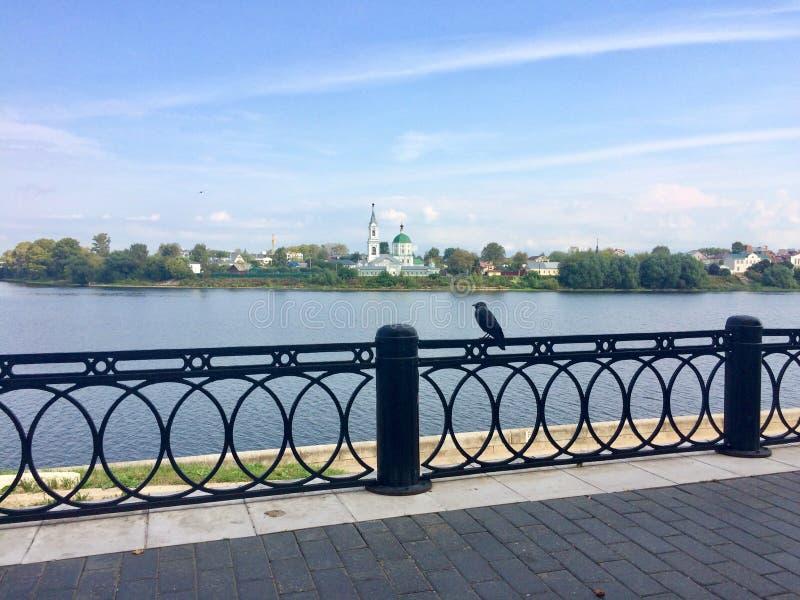 Славный взгляд реки через декоративную загородку стоковые фотографии rf