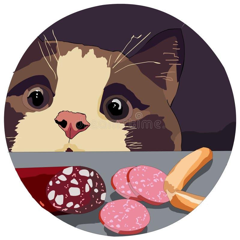 Славный кот дома который увидел на таблице много очень вкусные сосиски иллюстрация вектора