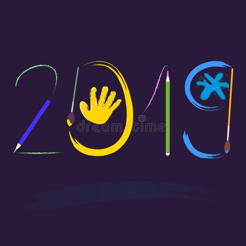Славный плакат Нового Года с цифром 2019 желтый цвет обоев вектора уравновешивания rac померанцовой картины цветков eps10 выстеги иллюстрация штока
