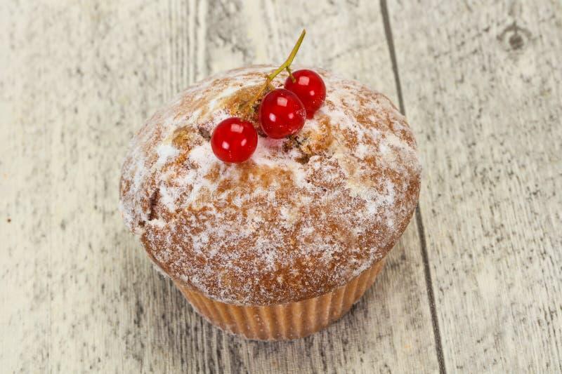 Сладкая вкусная булочка с красными смородинами стоковое изображение